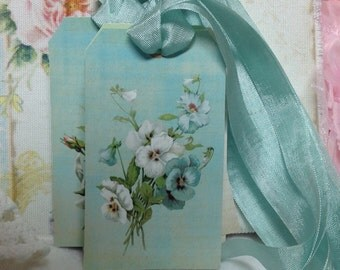 Violets And White Roses Set of 6 Gift Tags