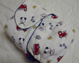 One Size Fitted Cloth Diaper Firetrucks and Puppies 10-35 lbs