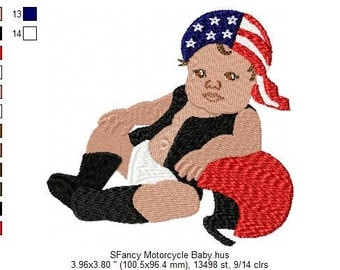SFancy Machine Embroidery Motorcycle Baby 4 x 4