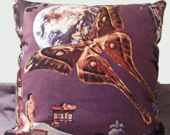 Soft Velveteen pillow collage art digitally printed - lunar eclipse - 18 or 22 inch - violet plum purple dark bohemian home decor