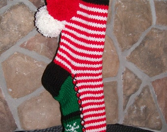 Old Fashioned Hand Knit Christmas Stocking in Red and White Candy Stripes with Snowflake detail