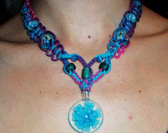 Cotton Candy and Berry Hemp V Necklace - Lampwork Glass Flower Pendant Pink Purple and Blue Macrame Hemp Jewelry