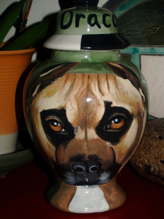 Custom pit bull PET URN for dogs and cats  MEDIUM sized for pet ashes