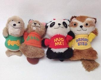 Vintage Shirt Tales Pammy Digger  tyg Hasbro Softies Stuffed Animal Plush Bear 1981 1983