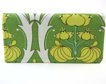 Fabric Women's Wallet, Checkbook Cover, Receipt or Cash Wallet, Checkbook Holder, green bold floral blue Amy Butler