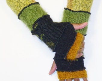 Fingerless Gloves, Arm Warmers,Handwarmers (Gold Mohair, Black, Black/Green Patched, Apple Green Mohair, Gold Patched)