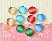 10 pcs handmade assorted cat eyes color glass cabochons 12mm (12-0234)