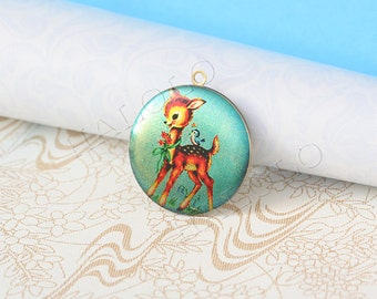 1pc handmade cute deer round antique brass locket 32mm (LD122)