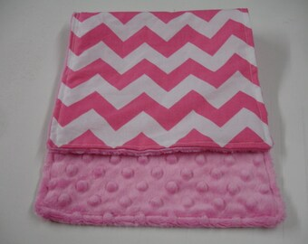 Hot Pink Medium Chevron Baby Burp Cloth with Minky