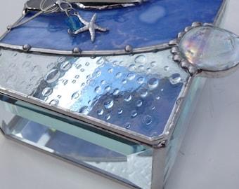 Beautiful ocean/beach themed trinket jewelry stained glass box