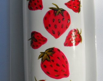 Strawberry Butter Dish Hand Painted Strawberry Porcelain Butter Dish With Lid Covered Butter Dish