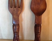 Vintage Wall Hanging Wooden Spoon and Fork