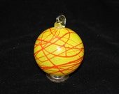 HOLIDAY SALE Bright Yellow Hand Blown Glass Christmas Tree Ornament with a Crazy Red Body Wrap