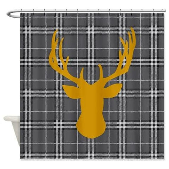 Deer Head Shower Curtain In Orange And Gray Plaid