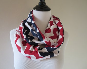 Patriots Scarf - New England Patriots Scarf - Washington Nationals -St. Louis Cardinals - Red White Blue Chevron Infinity Scarf - Team Scarf