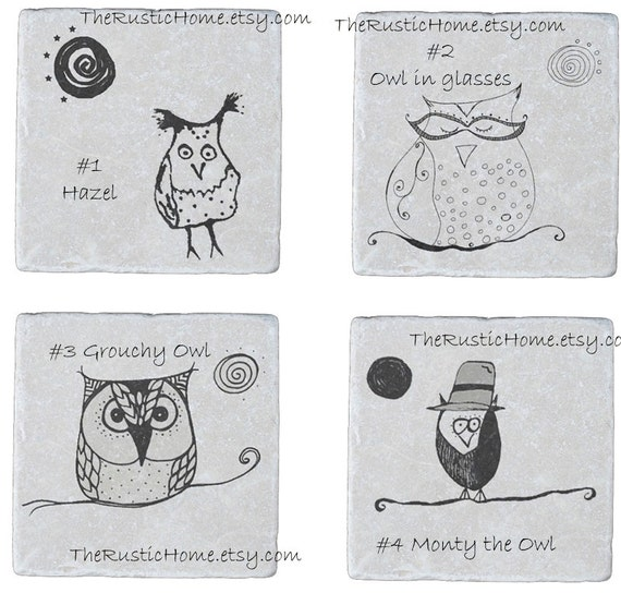 Custom owl coasters choose your design or mix and match stone coaster 4x4 owls