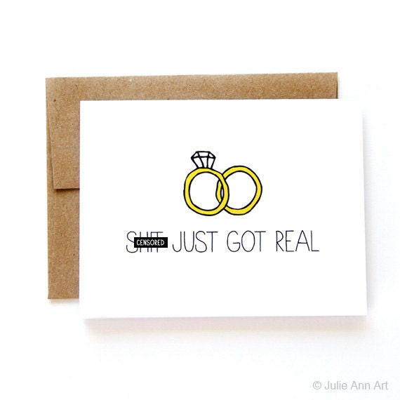 Engagement Card Wedding Announcement Sh-t Just Got Real