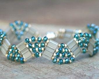 SALE Champagne and Aqua Blue Crystal Tila Wave Handmade Beaded Bracelet