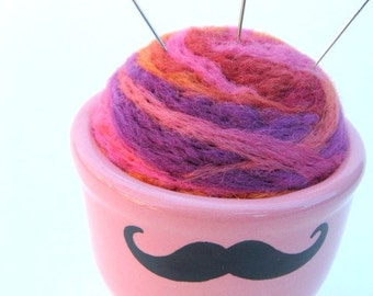 SHOP CLOSING SALE - Mustache Needle Felted Pin Cushion - In Pink Egg Cup