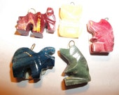 Lot Of 5 Carved Fetish Totem Animal Bead Pendants Owl Bear pig Horse Assortment B