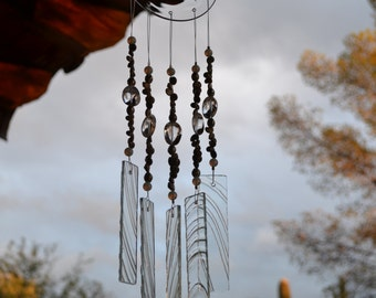 Windchime Clear Textured Glass with Sea Shells