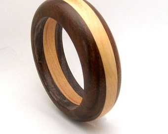 Handmade Wood Bangle Bracelet  Walnut Wood and Cherry Wood