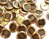 Gold Buttons, Goldtone Metal Buttons 13/16 inch diameter x 20 pieces, Shank Back