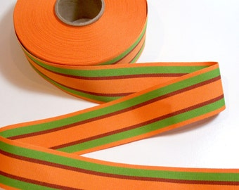Orange Ribbon, Double Sided Orange and Green Stripe Grosgrain Ribbon 1 1/2 inches wide x 14 yards, Striped Grosgrain Ribbon, 50% Off Sale