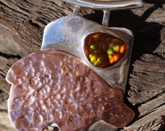 FIRE BEAR - Fire Agate with Sterling Silver and Copper -  Fine Art Jewelry
