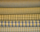 Homespun Fabric   Sewing Fabric   Cotton Fabric   Quilt Fabric   Yellow White Grey And Charcoal   Fat Quarter Bundle Of 5