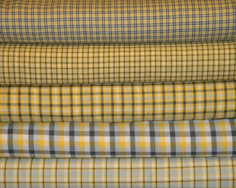 Homespun Fabric | Sewing Fabric | Cotton Fabric | Quilt Fabric | Yellow White Grey And Charcoal | Fat Quarter Bundle Of 5