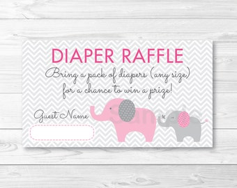 Pink Elephant  Chevron Diaper Raffle Tickets INSTANT DOWNLOAD