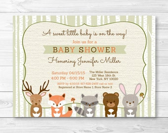 Woodland Baby Shower Invitation / Forest Animals / Birch Tree / Fox / Bear / Deer / Raccoon / Bunny / Gender Neutral PRINTABLE