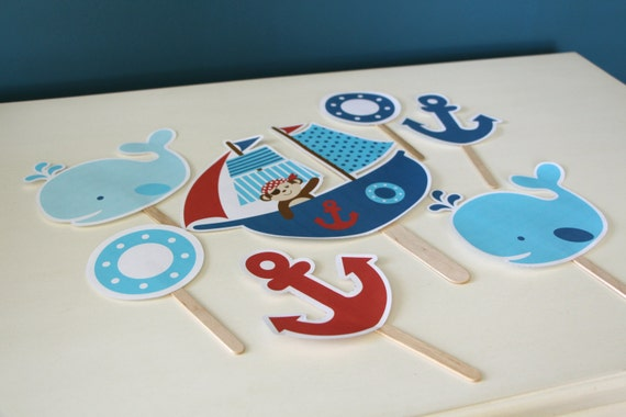 Cute nautical cut outs whale cut outs pirate ship cut for Baby shower decoration cutouts