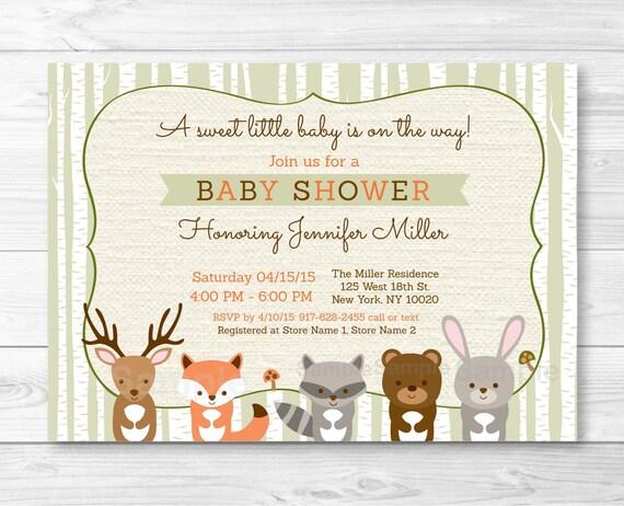 woodland baby shower invitation forest animals birch tree fox