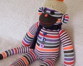 Sock Monkey Doll in Stripes, Red,  Green, Purple  Sock Doll , Sock Animal Softie,  Plush Sock Monkey