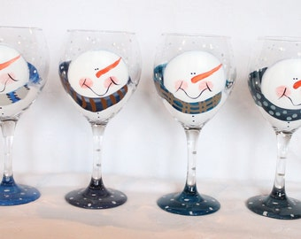 Snowman Wine Glasses set of 4 Blues
