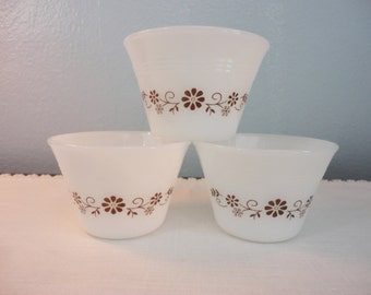 Vintage Dynaware Custard Cup Set of 3 - White Glass with Brown Floral