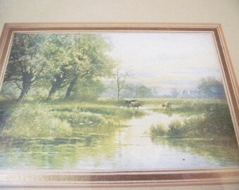 Vintage Antique Picture - Framed Art - Gesso Frame - Small Print