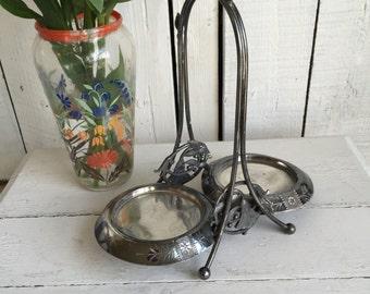Vintage Meriden B Silver Pickle Castor - Double - Aesthetic Movement - Antique