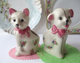Vintage Cat and Dog Ceramic Pink Floral Planter Pair Occupied Japan - Shabby Cute