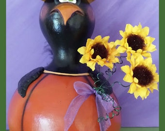 KERNEL crow hand painted gourd bird pumpkin sunflower flowers Fall autumn black Halloween teamhaha hafair OFG prim chick lisa robinson
