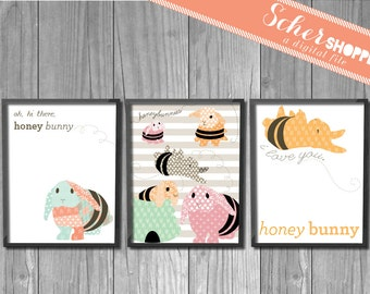 Printable Set of Bunny Nursery Art Prints DISCOUNTED // Bunny Nursery Picture // Colorful // Boy // Girl // INSTANT DOWNLOAD