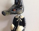 Handmade Hanging Wolf Girl Ornament with Deer Skirt