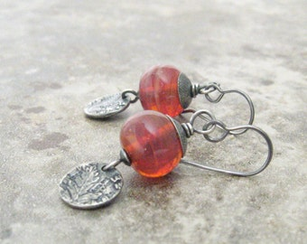 flame lampwork earrings, botanical silver earrings, silver jewelry, oxidized silver dangle earrings
