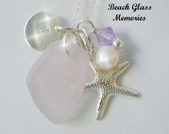 Personalized Lavender Sea Glass Necklace Beach Glass Monogram Seaglass Starfish Necklace