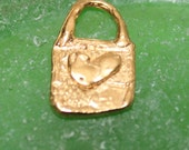 Heart Rectangular Charm Gold Plate CH902G