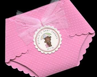 Baby Shower Invitations - Baby Girl Baby Shower Invitations - Baby Girl Shower Invitation - Diaper Invitations - Shower Invite - Pink - Bear