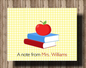 PERSONALIZED TEACHER NOTECARDS Teacher Gift/ Folded Notecards Boxed Set of 10/ Teacher Stationery/ Teacher Thank You Cards