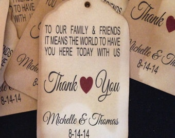 """To Our Family and Friends Thank you Tag SMALL 2"""" Favor Tags CHOOSE your Quantity"""